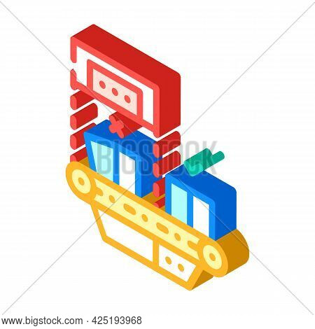 Failure Checking Production Isometric Icon Vector. Failure Checking Production Sign. Isolated Symbol