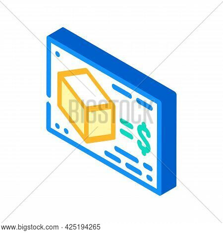 Calculating Cost Of Production Isometric Icon Vector. Calculating Cost Of Production Sign. Isolated