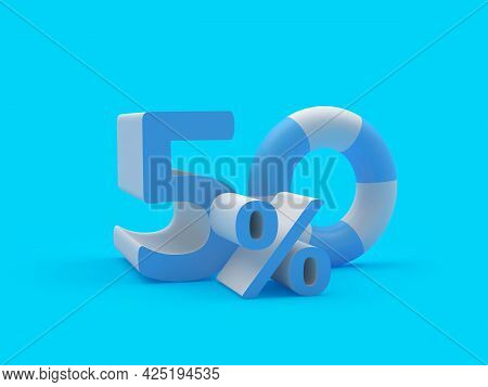 Discount 50 Percent Off With Lifebuoy On Blue. 3d Illustration