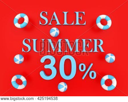 Red Banner With Text Summer Discount Thirty Percent With Beach Balls And Lifebuoys. 3d Illustration