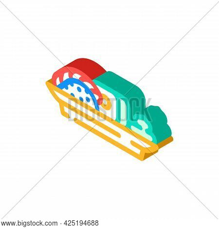 Sushi Japanese Cuisine Meal With Wasabi Isometric Icon Vector. Sushi Japanese Cuisine Meal With Wasa