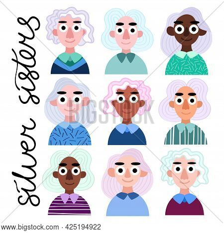 Silver Sisters - Nine Happy Cartoon Girls With Silver Hair Vector Illustration. Women Of Different E