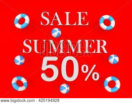 Red Banner With Text Summer Discounts Fifty Percent With Beach Balls And Lifebuoys. 3d Illustration