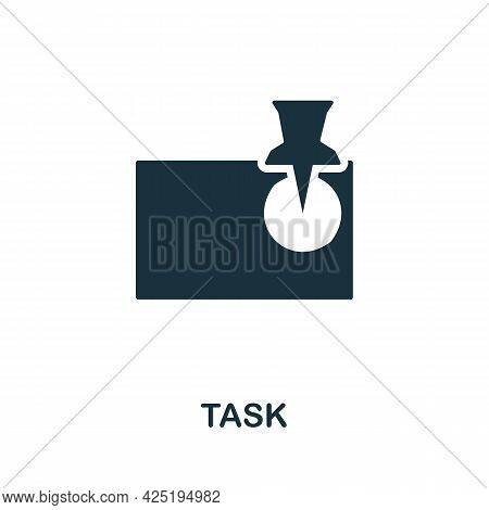 Task Icon. Simple Creative Element. Filled Monochrome Task Icon For Templates, Infographics And Bann