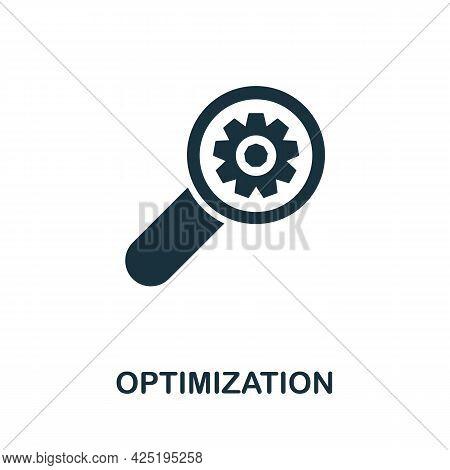 Optimization Icon. Simple Creative Element. Filled Monochrome Optimization Icon For Templates, Infog