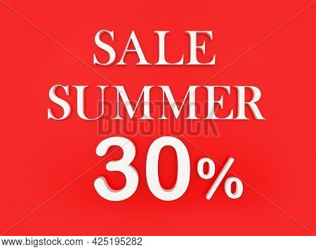 Text Summer Sale Thirty Percent On Red. 3d Illustration