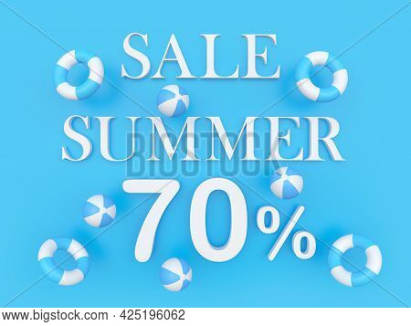 Blue Banner With Text Summer Discount Seventy Percent With Beach Balls And Lifebuoys. 3d Illustratio