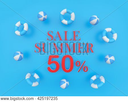 Banner With Text Sale Summer Fifty Percent Discount Surrounded By Beach Balls On Blue. 3d Illustrati