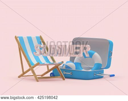 Chaise Lounge With Travel Suitcase With Text Summer On Pink. 3d Illustration
