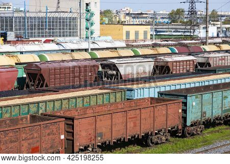 Coal Wagons, Wagons With Chips And Sawdust, Empty Wagons As Part Of A Train. Global Warming. Energy