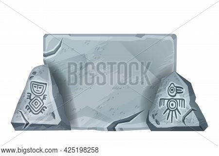 Stone Sign Board, Vector Aztec Carton Rock Game Block, Gray Cracked Panel, Maya Tribal Symbol. Ancie