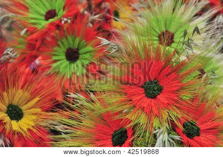 Multicolored Artificial Flowers Beautiful Background