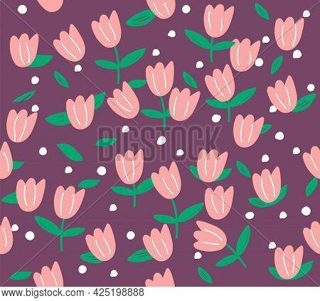 Pink Flowers On Purple Background. Seamless Pattern