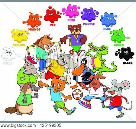 Educational Cartoon Illustration Of Basic Colors For Children With Animals Playing Football Characte