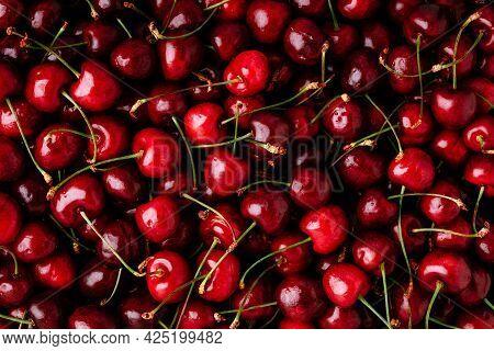 Cherry. Sweet Cherries Background. Ripe Sweet Red Cherries.