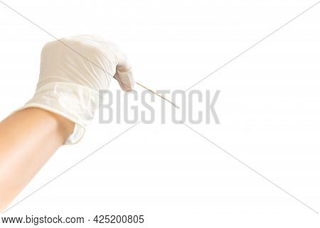 Hand With Glove Holding Cotton Stick For Swab Test Isolated In White Background