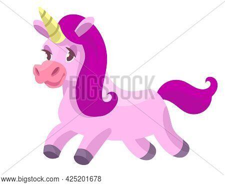 Running Cute Unicorn. Fairytale Character In Cartoon Style.