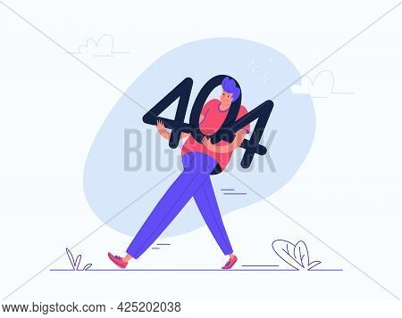 The Page Not Found 404 Error. Flat Vector Illustration Of Upset Man Carrying 404 Error As A Notifica