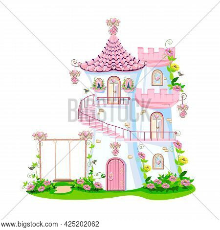 Fairy Tale Castle Of A Beautiful Princess With A Spiral Staircase, Towers, Windows, A Door And A Swi