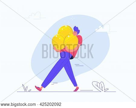 Young Happy Man Walking Alone And Carrying Heavy Three Golden Coins. Flat Vector Illustration Of Peo