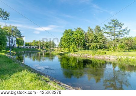 View On Gwda River In City Center Of Pila, Poland.