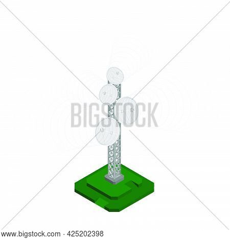 Isometric Television Antenna, Tower For Transmitting Radio Signals. Equipment For Television. Realis