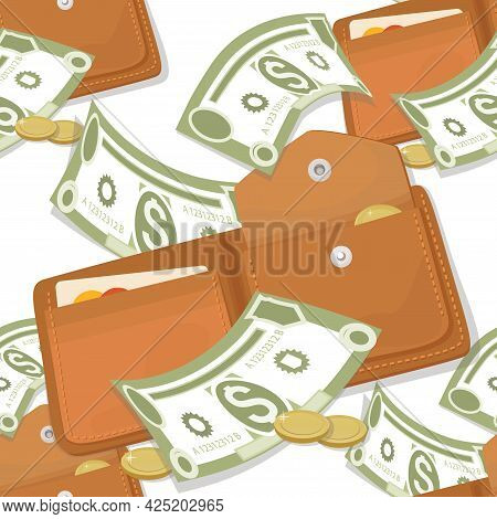 Cash Wallets. Dollar Bills, Coins. Vector Money Pattern. Falling Money Isolated On White Background.