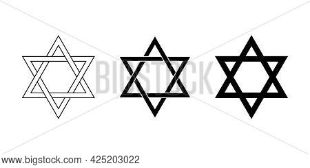 Seal Of Solomon And Star Of David. The Seal Is The Signet Ring Attributed To King Solomon, A Hexagra