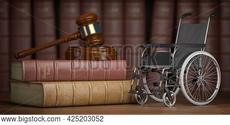 Disability law and social services for disabled people concept. Wheelchair and gavel. 3d illustration