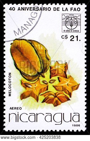 Nicaragua - Circa 1986: A Postage Stamp From Nicaragua Showing Fruit Melocoton