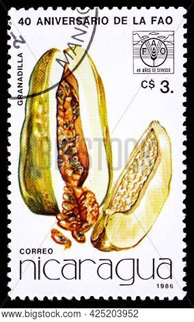 Nicaragua - Circa 1986: A Postage Stamp From Nicaragua Showing Fruit Granadilla