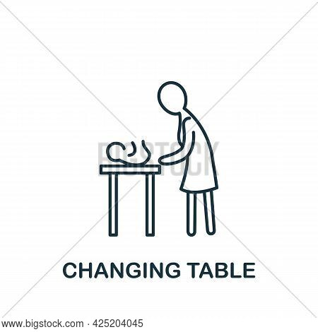 Changing Table Icon From Baby Things Collection. Simple Line Element Changing Table Symbol For Templ