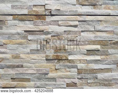 Horizontal Modern Brick Wall Background. Stone Wall Texture