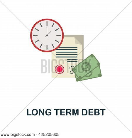 Long Term Debt Icon. Flat Sign Element From Credit Collection. Creative Long Term Debt Icon For Web