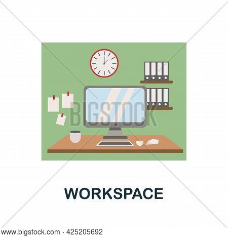 Workspace Icon. Flat Sign Element From Credit Collection. Creative Workspace Icon For Web Design, Te
