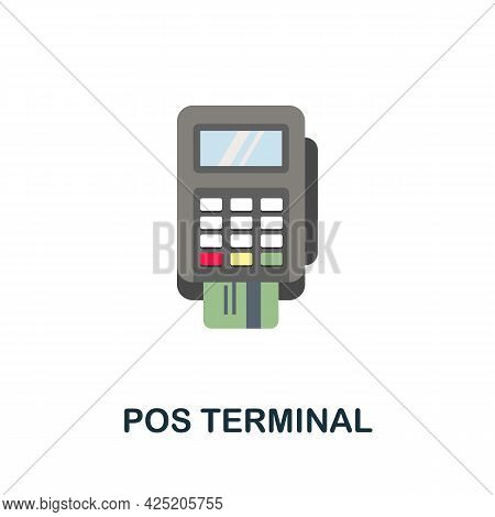 Pos Terminal Icon. Flat Sign Element From Credit Collection. Creative Pos Terminal Icon For Web Desi