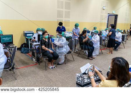 Chiang Mai, Thailand - 28 June 2021 - Thai People Get Their Covid-19 Vaccine In Chiang Mai, Thailand
