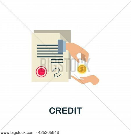 Credit Icon. Flat Sign Element From Credit Collection. Creative Credit Icon For Web Design, Template