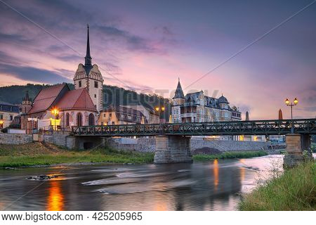 Gera, Germany. Cityscape Image Of Old Town Gera, Thuringia, Germany With St. Mary's Church And Unter