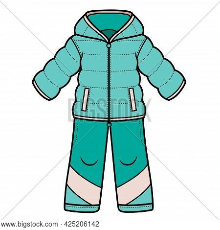 Winter Warm Set Jacket And Pants Unisex Color Variation For Coloring On A White Background