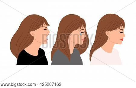 Profiles With Different Expressions. Cartoon Crying, Neutral And Screaming Woman, Vector Illustratio