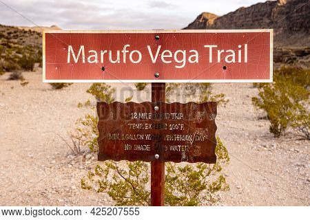 Marufo Vega Trail Sign Cautions Hikers To Prepare For Unfriendly Conditions