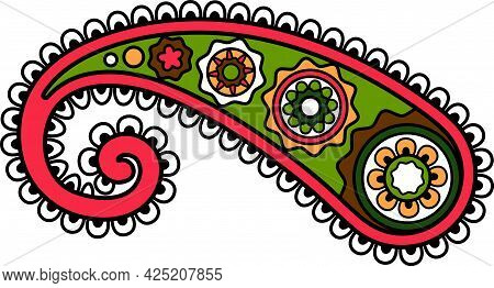 East Indian Or Turkish Paisley Ornament Element Isolated