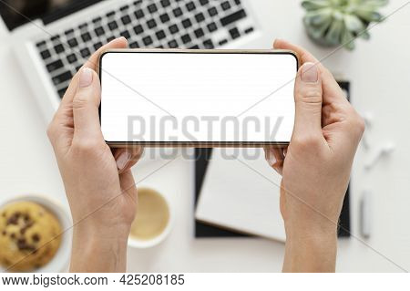 Woman Taking Photo With Her Phone. High Quality Beautiful Photo Concept