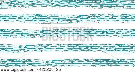 Linear Geometric Stripe Seamless Vector Border Background. Coarse Painterly Brush Stroke Striped Aqu