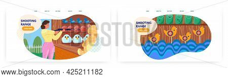 Shooting Range Landing Page Design, Website Banner Vector Template Set. Shooting Gallery Amusement P