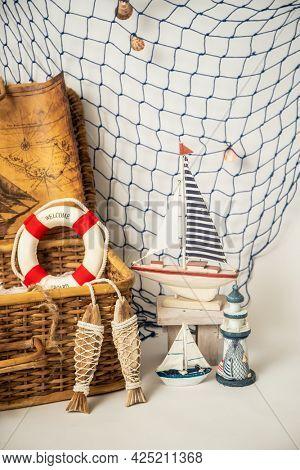 nautical studio setup for birthday photo shoot