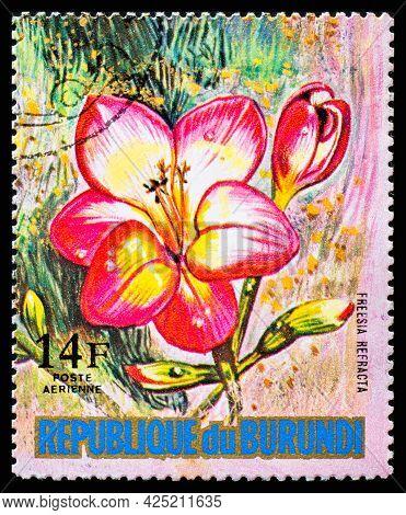 Burundi - Circa 1973: A Postage Stamp From Burundi Showing Garden Flowers Freesia Refracta