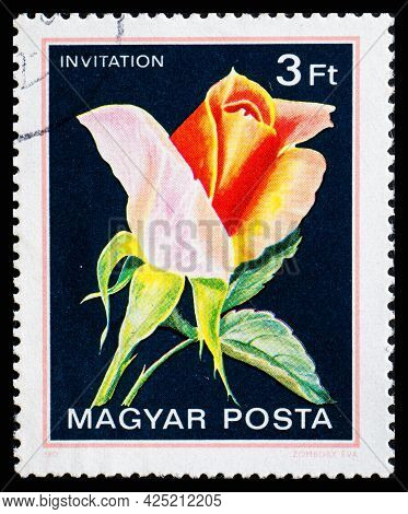 Hungary - Circa 1982: A Postage Stamp From Hungary Showing Flowers Invitation
