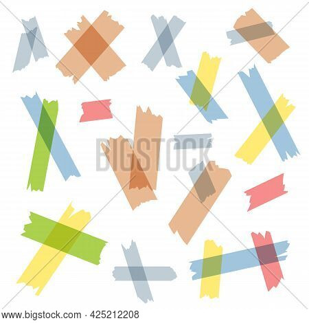 Adhesive Or Masking Tape Pieces Flat Vector Illustration Set. Red, Yellow, Blue Ripped Or Torn Strip